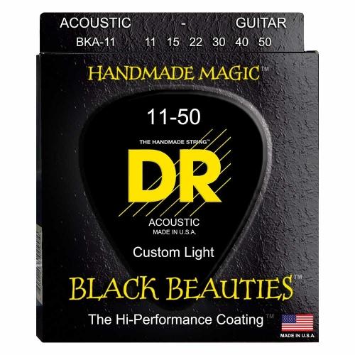 DR Strings BKA11 Black Beauties Akoestische Gitaarsnaren (11-50) Coated