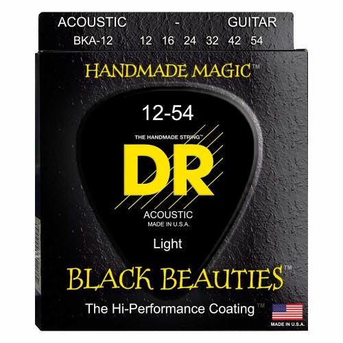 DR Strings BKA12 Black Beauties Akoestische Gitaarsnaren (12-54) Coated