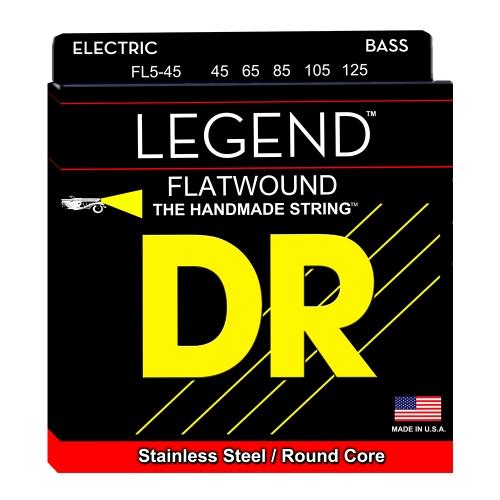 DR Strings FL5-45 Legend Flatwound Bassnaren 5-Snarig (45-125)