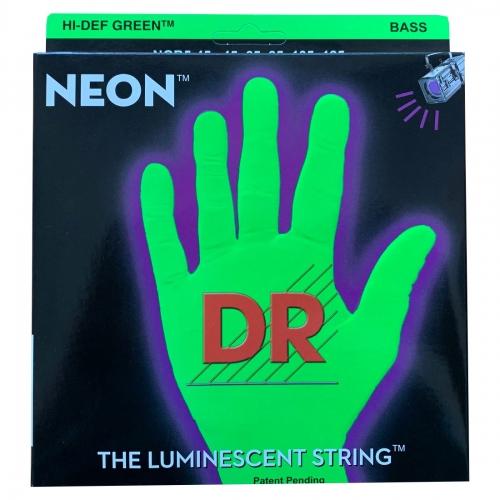 DR Strings NGB5-45 Neon Green Bassnaren 5-Snarig Coated (45-125)