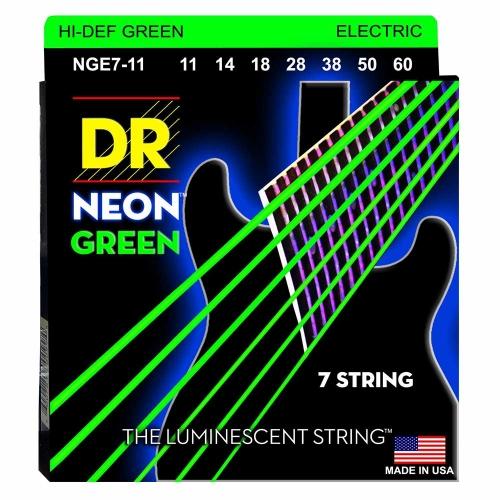 DR Strings NGE711 Neon Green Elektrische Snaren 7-Snarig (11-60), K3 Coating