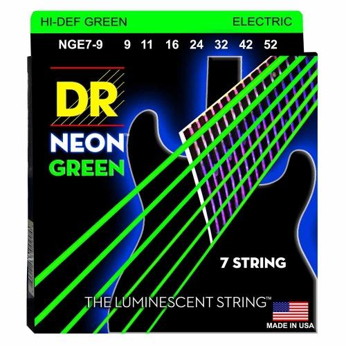 DR Strings NGE79 Neon Green Elektrische Snaren 7-Snarig (9-52), K3 Coating