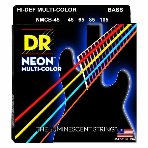 DR Strings NMCB45 Neon Multi-Color Bassnaren Coated (45-105)