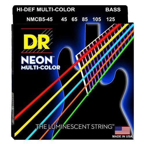 DR Strings NMCB5-45 Neon Multi-Color Bassnaren 5-Snarig Coated (45-125)