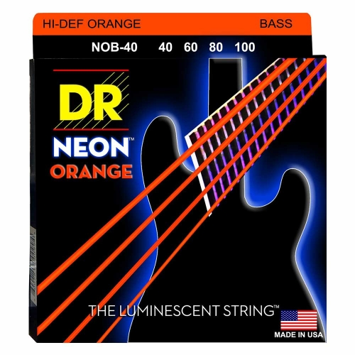 DR Strings NOB40 Neon Orange Bassnaren Coated (40-100) - Aanbieding