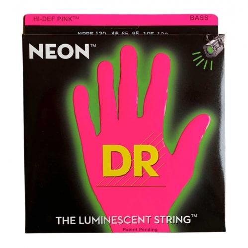 DR Strings NPB5-130 Neon Pink Bassnaren 5-Snarig Coated (45-130)
