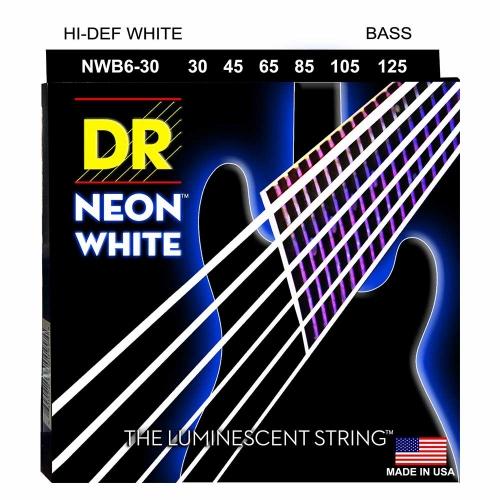 DR Strings NWB6-30 Neon White Bassnaren 6-Snarig Coated (30-125)