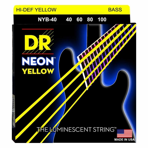 DR Strings NYB40 Neon Yellow Bassnaren Coated (40-100)