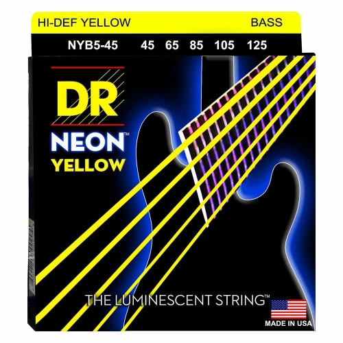 DR Strings NYB5-45 Neon Yellow Bassnaren 5-Snarig Coated (45-125)