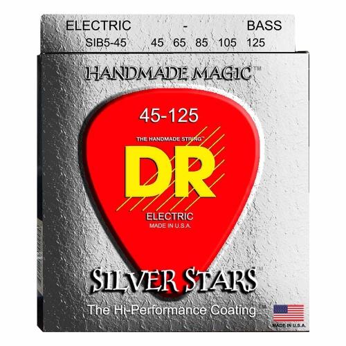 DR Strings SIB5-45 Silver Stars Bassnaren Coated 5-Snarig (45-125)