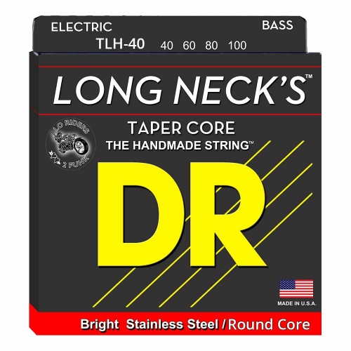 DR Strings TLR40 Long Necks Tapered Bassnaren Round Core (40-100)