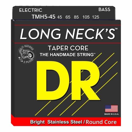 DR Strings TMR5-45 Long Necks Tapered Bassnaren 5-Snarig Round Core (45-125)