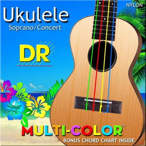 DR Strings UMCSC Multicolor Sopraan/Concert Ukulele Snaren (Nylon)