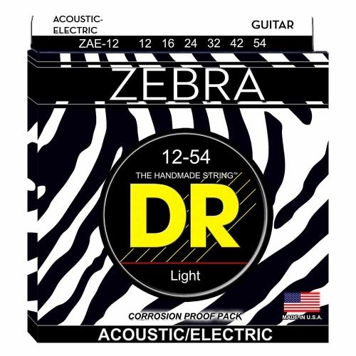 DR Strings ZAE12 Zebra Akoestische/Elektrische Gitaarsnaren (12-54)