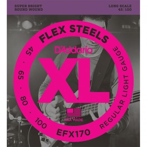 D'Addario EFX170 Flexsteels Bassnaren Long Scale (45-100)