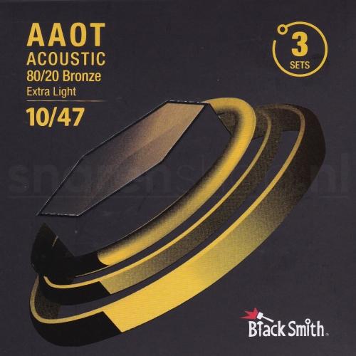 BlackSmith AABR-1047-3P Snaren met Coating voor Akoestische Gitaar (10-47) Extra Light 3-Pack