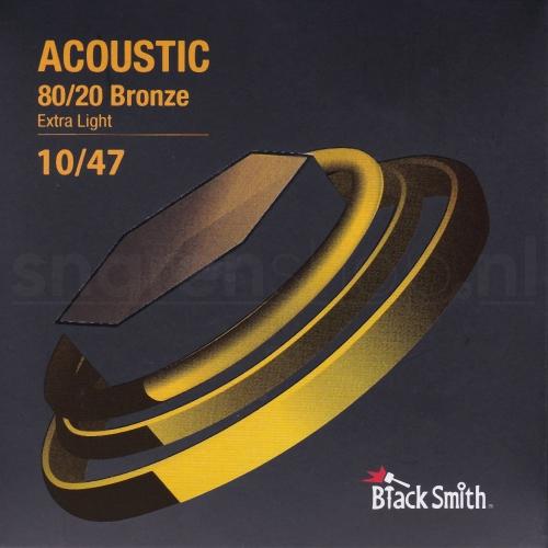 Blacksmith snaren met coating voor akoestische gitaar. Bronze wound, dikte .010-047 (Extra Light)