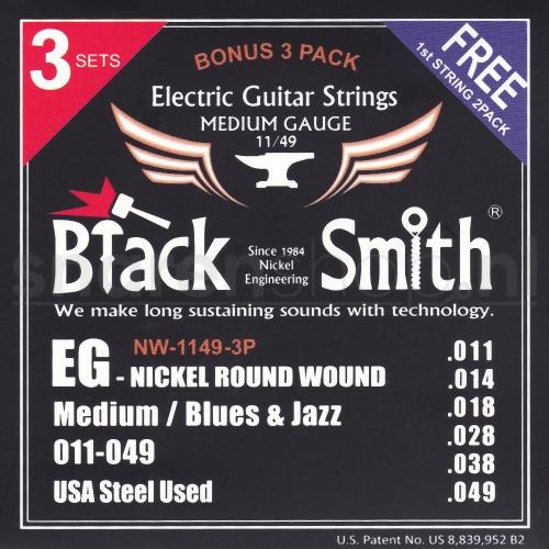 BlackSmith NW-1149-3P Elektrische Gitaarsnaren (11-49) 3-Pack (Gratis 2x .011 Losse snaar)