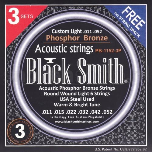 Blacksmith PB1152 akoestiosche gitaarsnaren, light, .011 -.052 Triopack