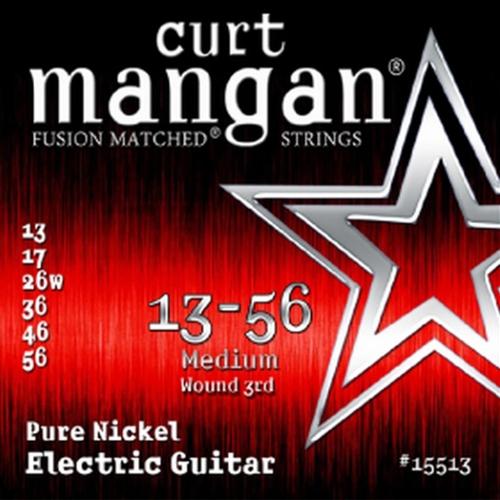 Curt Mangan 15513 Pure Nickel Elektrische Gitaarsnaren (Omwonden G-Snaar) (13-56)