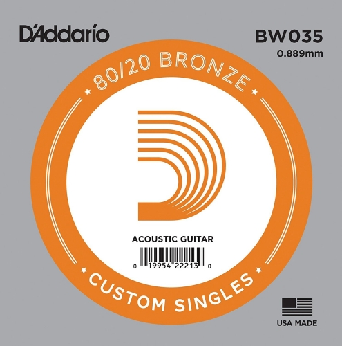 D'Addario BW032 Losse Snaar voor Akoestische Gitaar - Brons .035