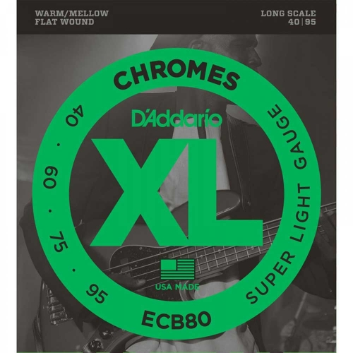 D'Addario ECB80 Bassnaren Flatwound Chromes Long Scale (40-95