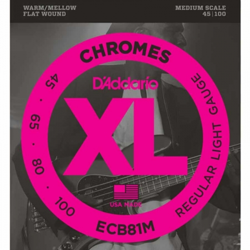 D'Addario ECB81M Flatwound Bassnaren Chromes Medium Scale (45-100)