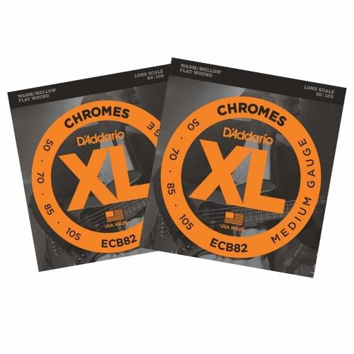 D'Addario ECB82 Flatwound Chromes Bassnaren Long Scale (50-105) 2-Pack