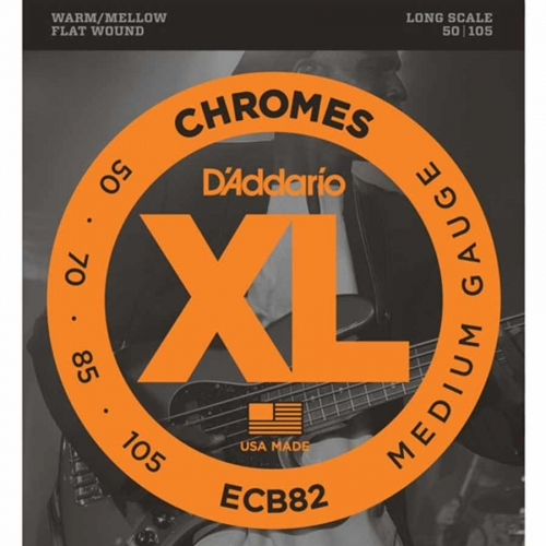 D'Addario ECB82 Flatwound Chromes Bassnaren Long Scale (50-105)