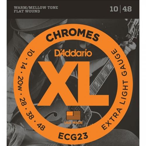 D'Addario ECG23 Flat Wound Chromes Snaren voor Elektrische Gitaar (10-48)