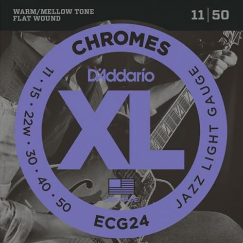 D'Addario ECG24 Flat Wound Chromes Snaren voor Elektrische Gitaar (11-50)