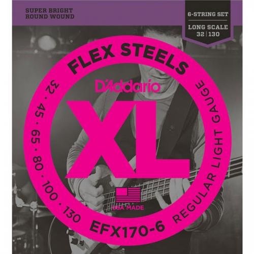 D'Addario EFX170-6 Flexsteels Bassnaren 6-Snarig (32-130)