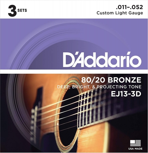 D'Addario EJ13-3D 3-Pack Gitaarsnaren Akoestisch (11-52)