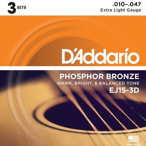 D'Addario EJ15-3D 3-Pack Western Snaren (10-47)