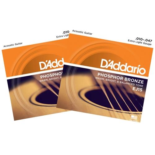 D'Addario EJ15 Westernsnaren Phosphor Bronze (10-47) 2-Pack