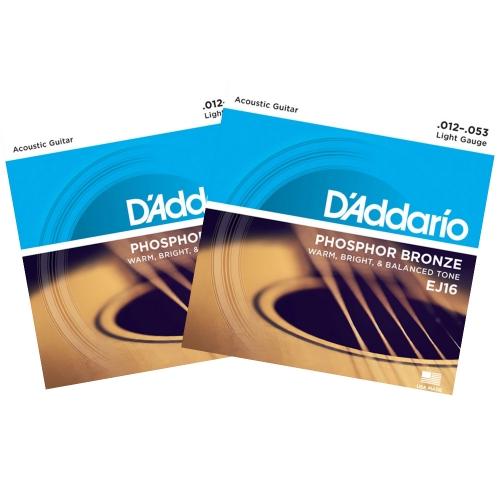 D'Addario EJ16 Phosphor Bronze Westernsnaren (12-53) 2-Pack