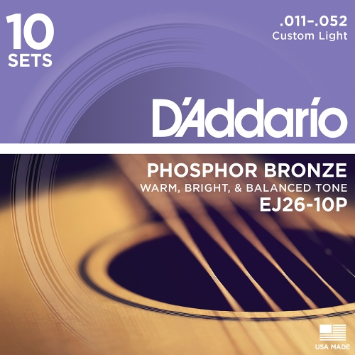 D'Addario EJ26-10P Phosphor Bronze Westernsnaren (11-52) 10-Pack