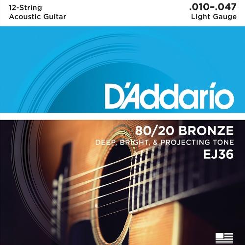 D'Addario EJ36 Bronze Western Snaren voor 12-snarige Gitaar