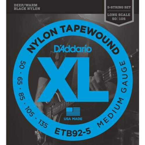 D'Addario ETB92-5 Tapewound Black Nylon Bassnaren (50-135)