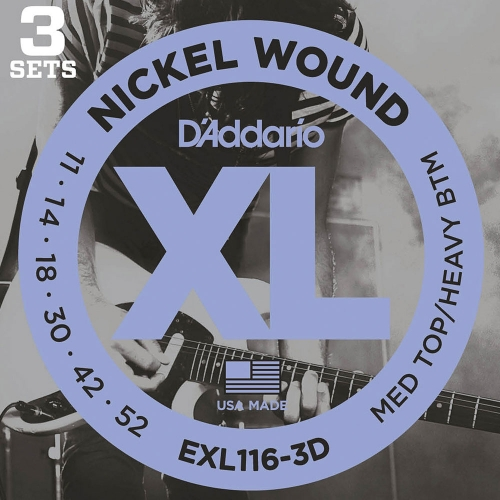 D'Addario EXL116-3D Snaren voor Elektrische Gitaar (11-52) 3-Pack
