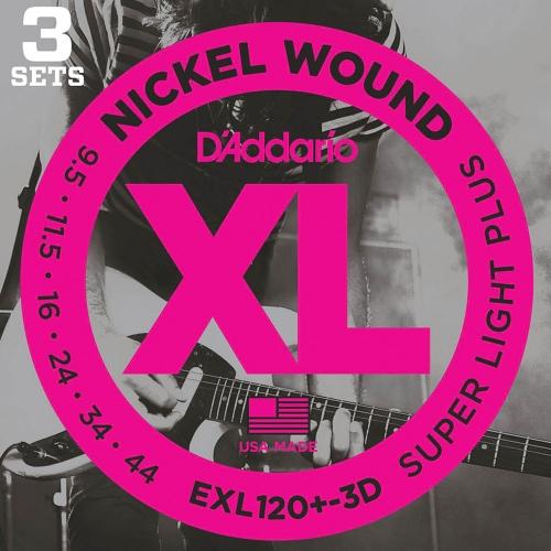 D'Addario EXL120+-3D Round Wound Snaren voor Elektrische Gitaar (9.5-44) 3-Pack