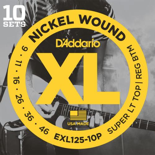 D'Addario EXL125-10P Nickel Wound Snaren voor Elektrische Gitaar (9-46) 10-Pack