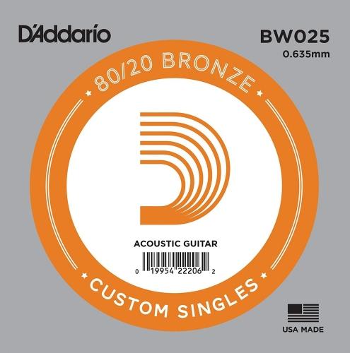 D'Addario BW025 Losse Snaar voor Akoestische Gitaar - Brons .025