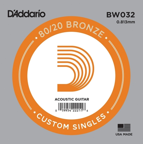 D'Addario BW032 Losse Snaar voor Akoestische Gitaar - Brons .032