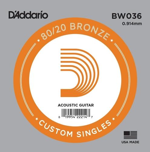 D'Addario BW036 Losse Snaar voor Akoestische Gitaar - Brons .036