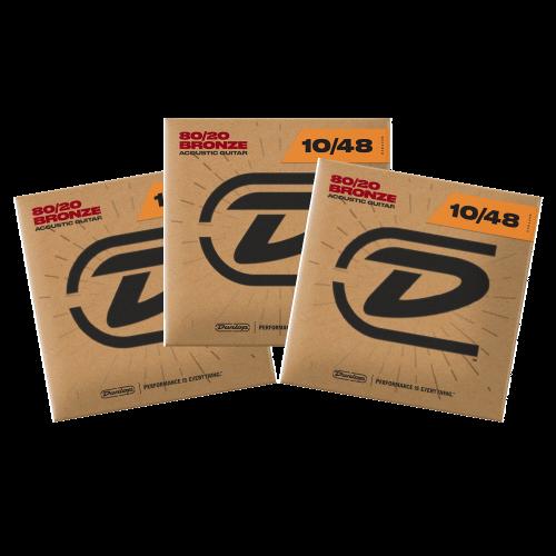 Dunlop DAB1048 Westernsnaren Bronze .010 - .048 3-Pack