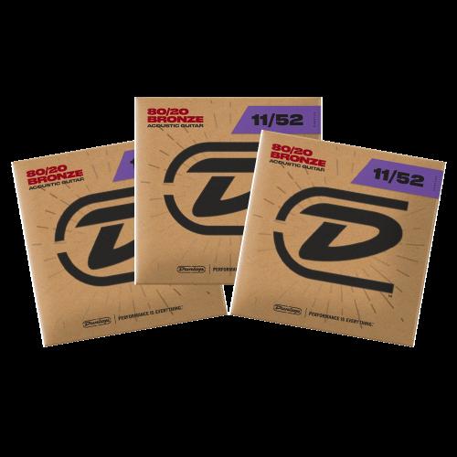 Dunlop DAB1152 Westernsnaren Bronze .011 - .052 3-Pack