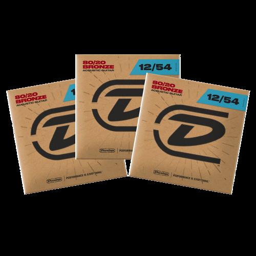 Dunlop DAB1254 Westernsnaren Bronze .012 - .054 3-Pack