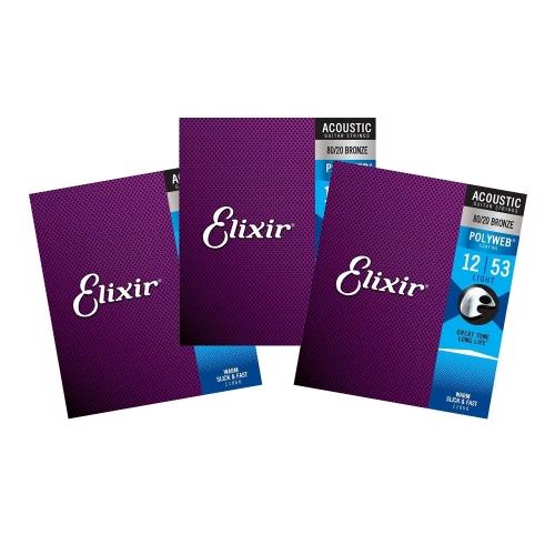 Elixir 11050 Polyweb Bronze Snaren voor Akoestische Gitaar (12-53) 3-Pack