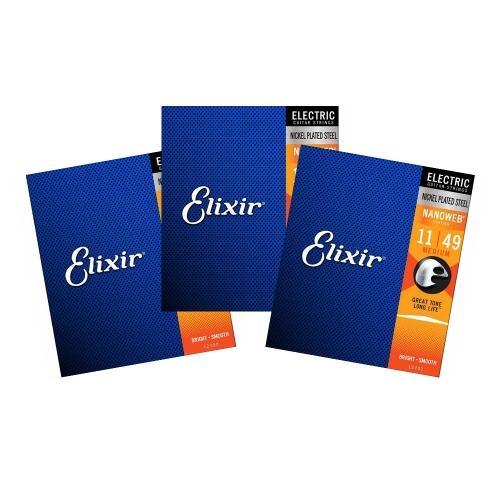 Elixir 12102 Nanoweb Snaren voor Elektrische Gitaar (11-49) 3-Pack